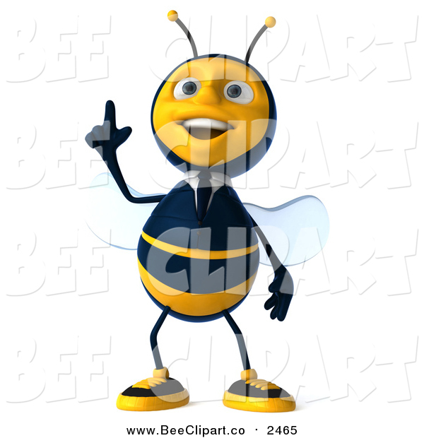 Clip Art of a 3d Business Bee with an Idea
