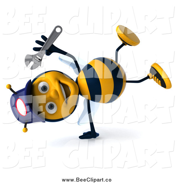 Clip Art of a 3d Cartwheeling Happy Mechanic Bee