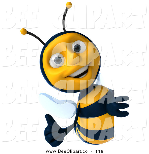 Clip Art of a 3d Cheerful Bee Character Holding a Thumb up Around a Sign