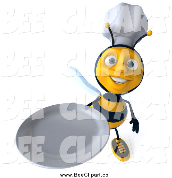 Clip Art of a 3d Chef Bee Holding up a Clean Plate