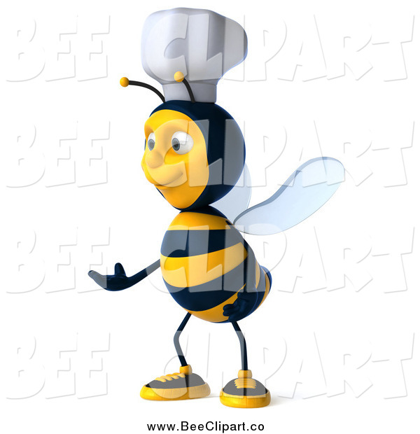 Clip Art of a 3d Chef Bee Presenting