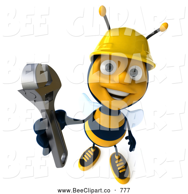 Clip Art of a 3d Construction Bee Character Holding a Wrench