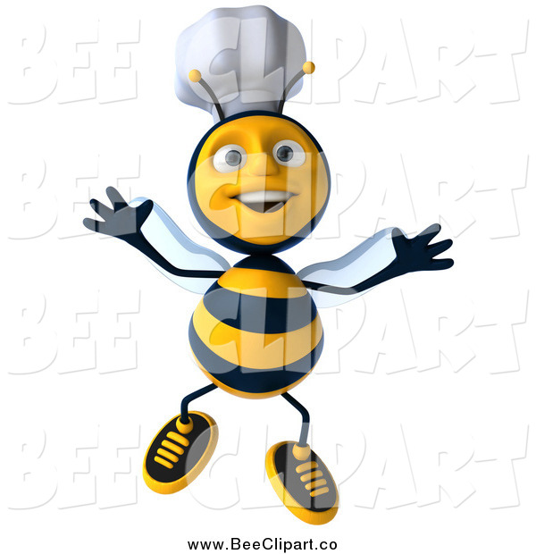 Clip Art of a 3d Excited Jumping Chef Bee