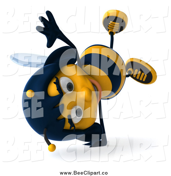 Clip Art of a 3d Female Bee Cartwheeling