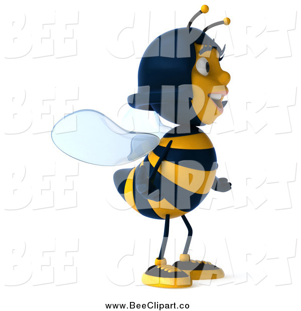 Clip Art of a 3d Female Bee Facing Right