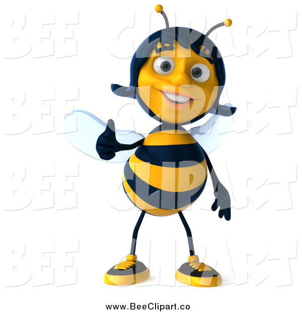 Clip Art of a 3d Female Bee Giving a Thumb up