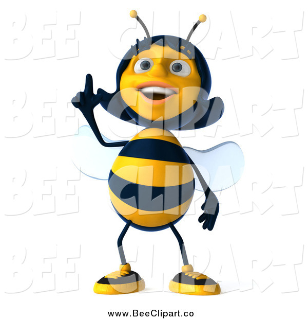 Clip Art of a 3d Female Bee Pointing up