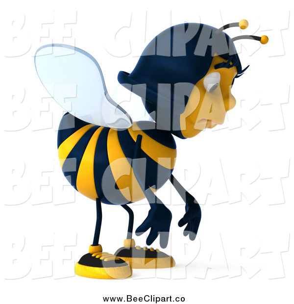 Clip Art of a 3d Female Bee Pouting