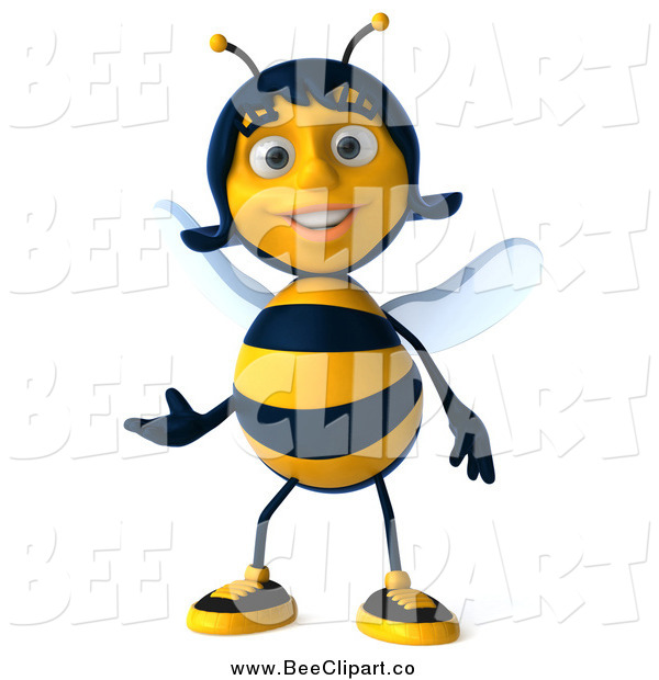 Clip Art of a 3d Female Bee Presenting