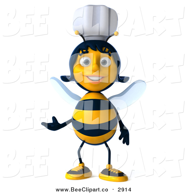 Clip Art of a 3d Female Chef Bee Presenting