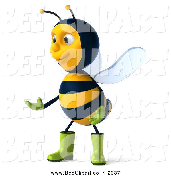 Clip Art of a 3d Gardener Bee Facing Left and Presenting