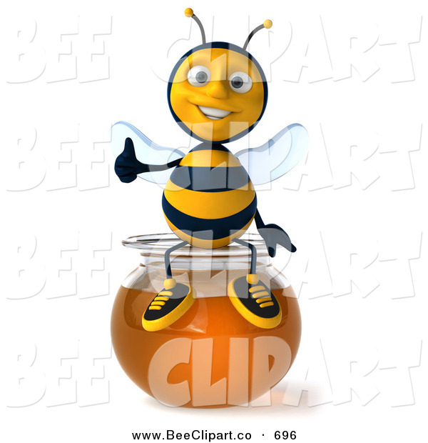 Clip Art of a 3d Happy Bee Character Holding His Thumb up and Sitting on a Bowl of Honey