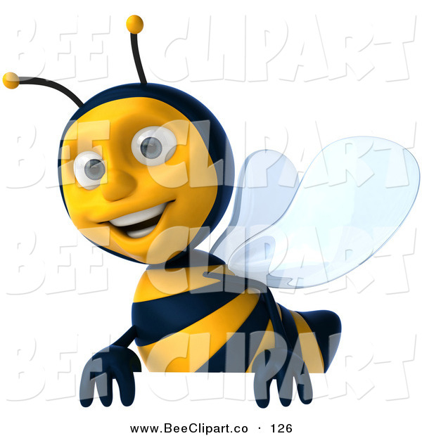 Clip Art of a 3d Happy Bee Character Smiling and Carrying a Blank Sign
