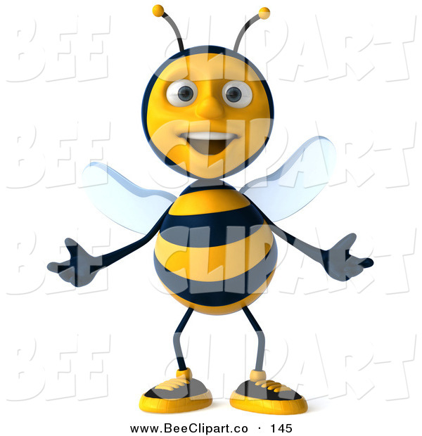 Clip Art of a 3d Happy Bee Character Standing and Gesturing with Both Hands