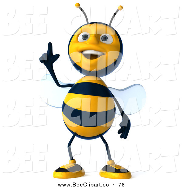 Clip Art of a 3d Happy Bee Character Standing and Pointing up