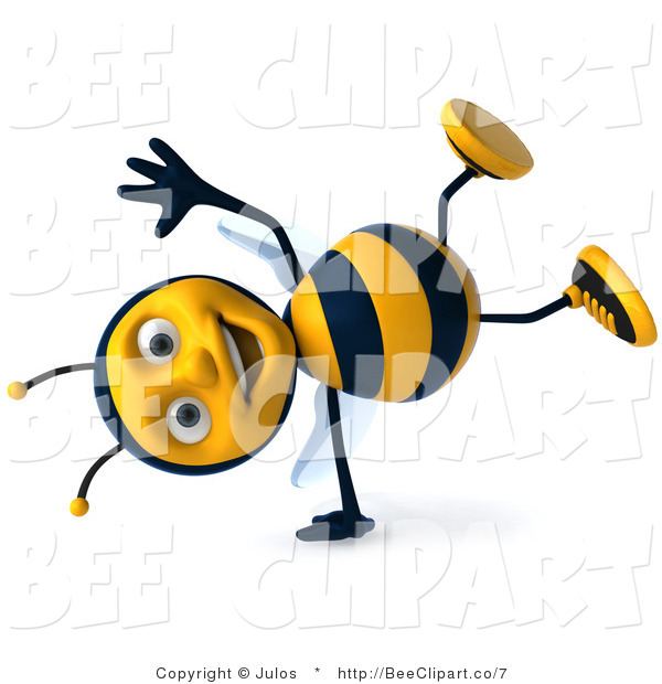 Clip Art of a 3d Happy Bee Doing a Cartwheel