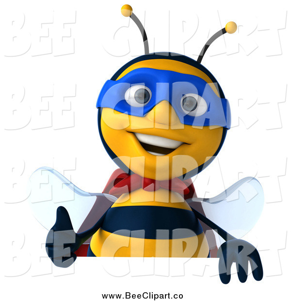 Clip Art of a 3d Happy Bee Super Hero over a Sign with a Thumbs up