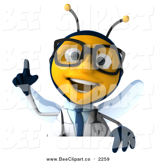 Clip Art of a 3d Happy Bespectacled Bee Doctor Holding up a Finger over a Sign