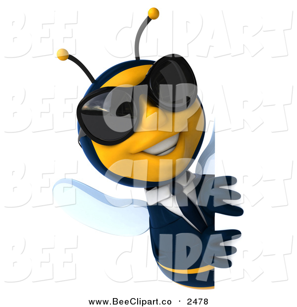 Clip Art of a 3d Happy Business Bee Wearing Shades and Smiling Around a Sign