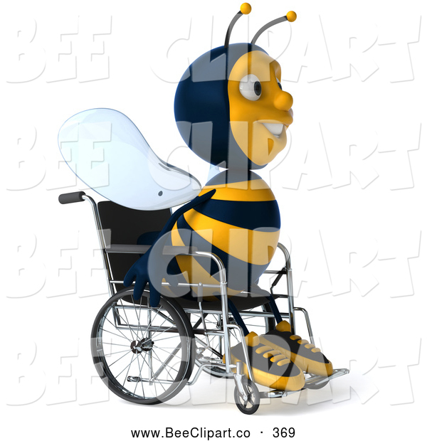 Clip Art of a 3d Happy Disabled Bee in a Wheelchair