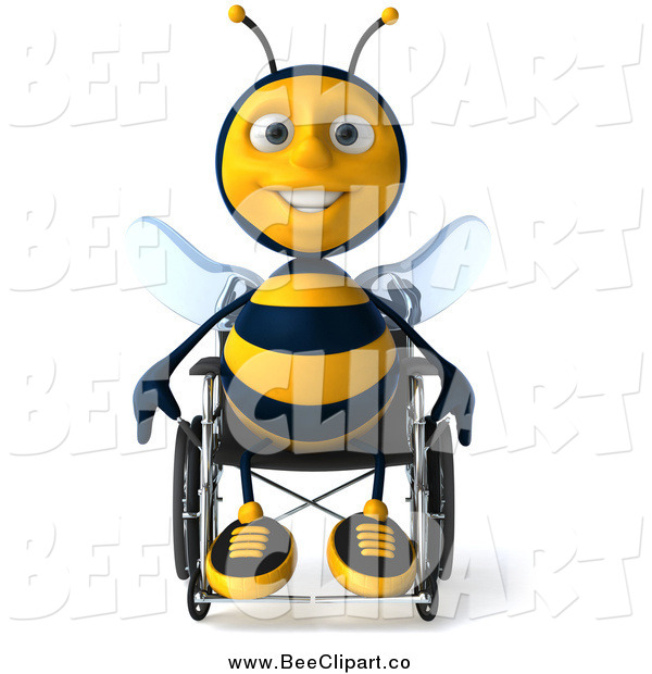 Clip Art of a 3d Happy Disabled Bee Sitting in a Wheelchair