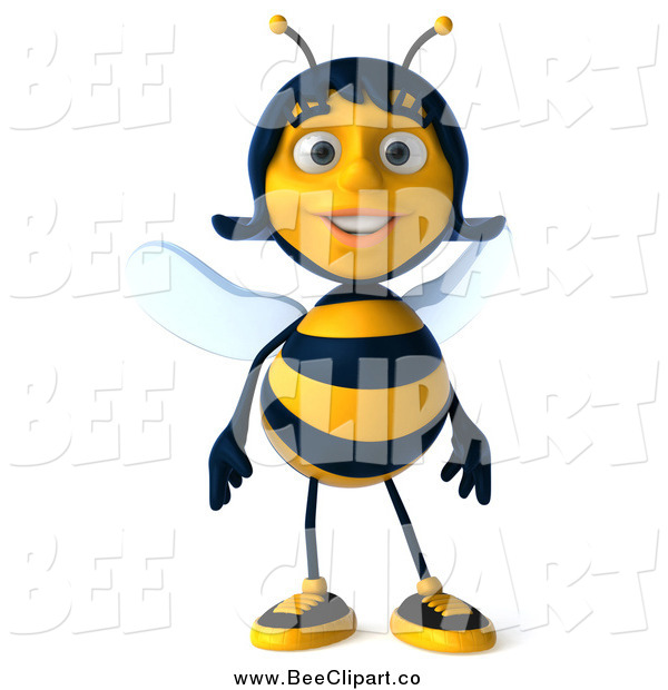 Clip Art of a 3d Happy Female Bee