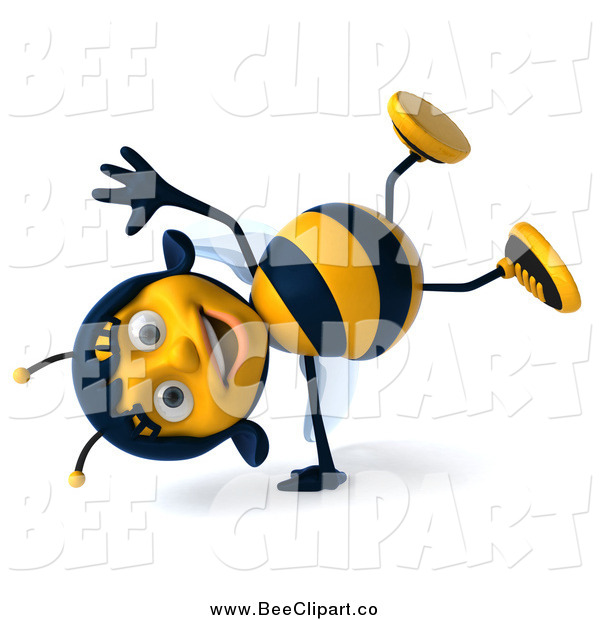 Clip Art of a 3d Happy Female Bee Doing a Hand Stand