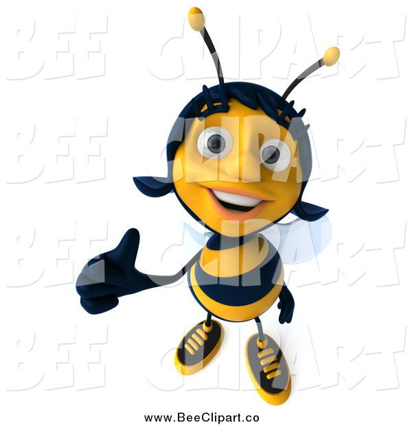 Clip Art of a 3d Happy Female Bee Holding a Thumb up