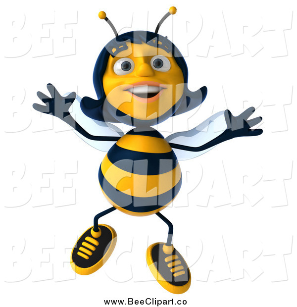 Clip Art of a 3d Happy Female Bee Jumping