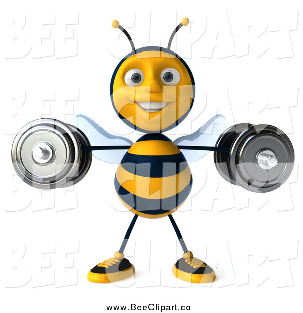 Clip Art of a 3d Happy Honey Bee Lifting Weights