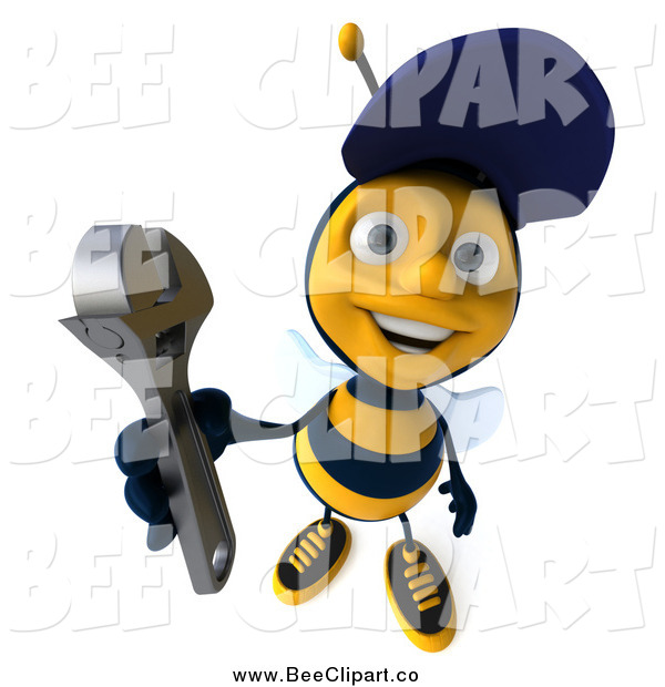 Clip Art of a 3d Happy Mechanic Bee Holding up a Wrench