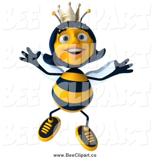 Clip Art of a 3d Happy Queen Bee Jumping