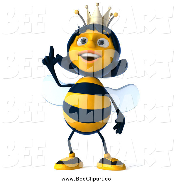 Clip Art of a 3d Happy Queen Bee Looking up and Pointing