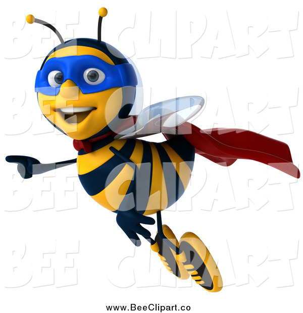 Clip Art of a 3d Happy Super Honey Bee Flying and Pointing