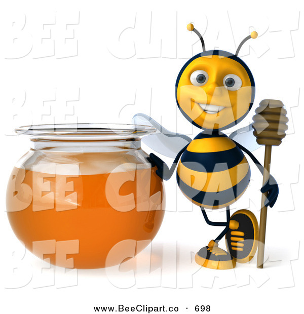 Clip Art of a 3d Honey Bee Character Holding a Honey Wamd by a Bowl of Honey