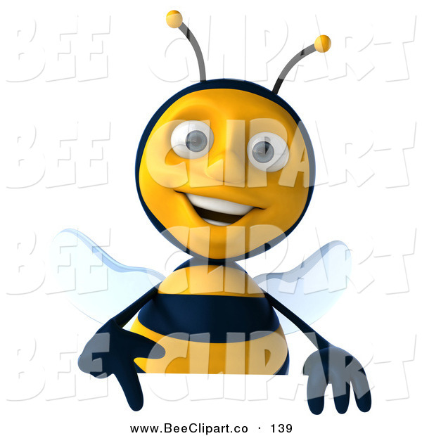 Clip Art of a 3d Honey Bee Character Pointing down at a Sign