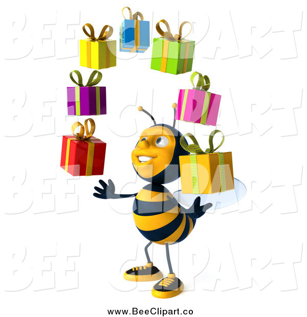 Clip Art of a 3d Honey Bee Facing Slightly Left, Looking up and Juggling Gifts