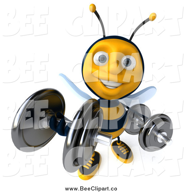Clip Art of a 3d Honey Bee Lifting Weights and Smiling