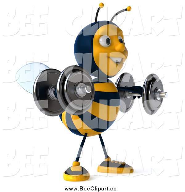 Clip Art of a 3d Honey Bee Working out and Lifting Dummbells