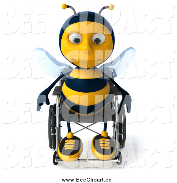 Clip Art of a 3d Lonely Disabled Bee in a Wheelchair