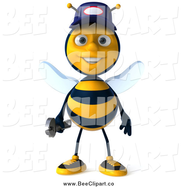Clip Art of a 3d Mechanic Bee Standing