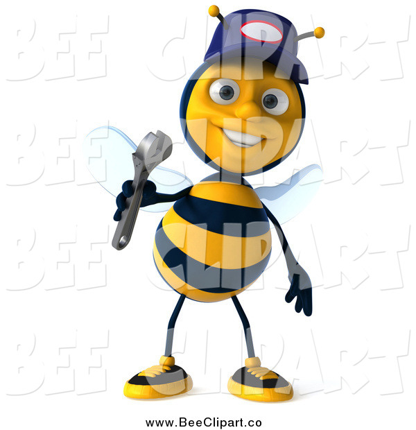 Clip Art of a 3d Mechanic Bee Wearing a Hat and Holding a Wrench