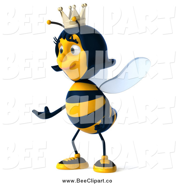 Clip Art of a 3d Queen Bee Facing Left and Presenting