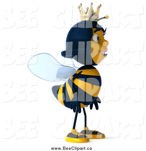 Clip Art of a 3d Queen Bee Facing to the Right