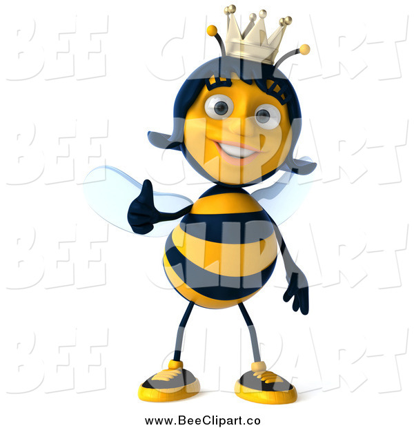 Clip Art of a 3d Queen Bee Giving a Thumb up