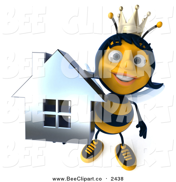 Clip Art of a 3d Queen Bee Holding up a Chrome Home