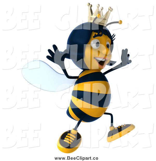 Clip Art of a 3d Queen Bee Jumping and Facing Right