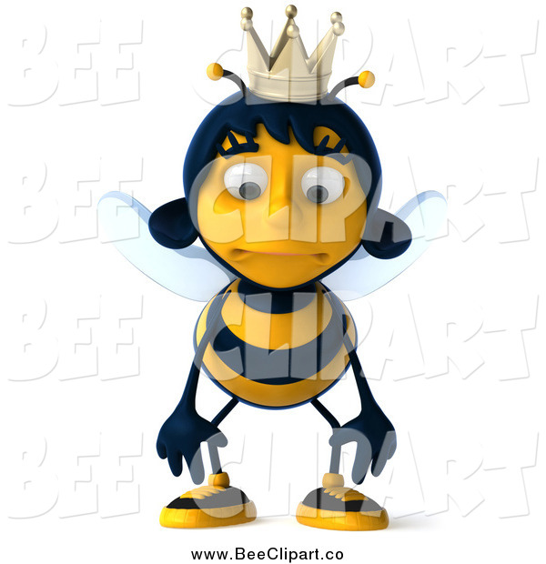 Clip Art of a 3d Queen Bee Pouting