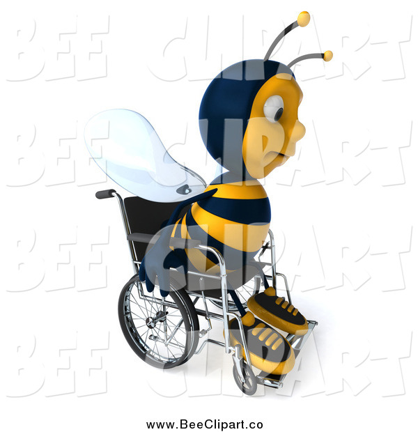 Clip Art of a 3d Sad Disabled Bee in a Wheelchair, Facing Slightly Right