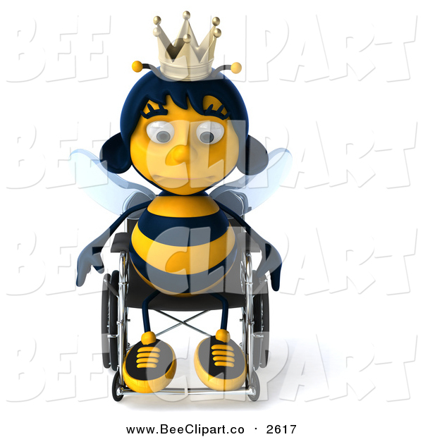 Clip Art of a 3d Sad Queen Bee Pouting in a Wheelchair